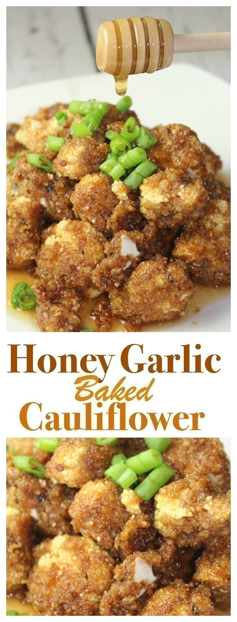 This healthy honey garlic baked cauliflower comes together easily with simple ingredients and is perfect for a simple meatless meal option!   #cauliflower #baked #healthy #meatless #honey #garlic #dinner #easydinner