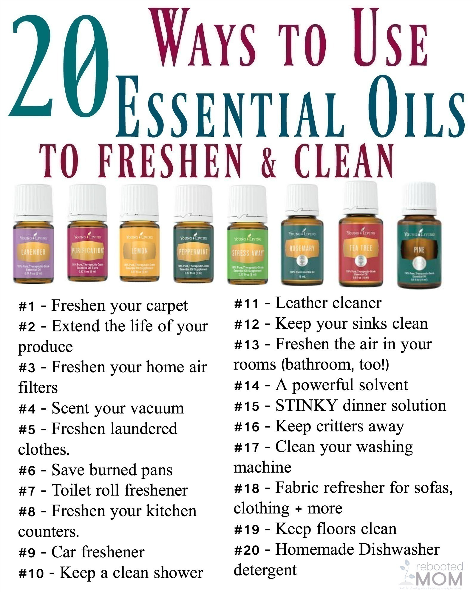 20 Ways To Use Essential Oils To Freshen Clean Rebooted Mom