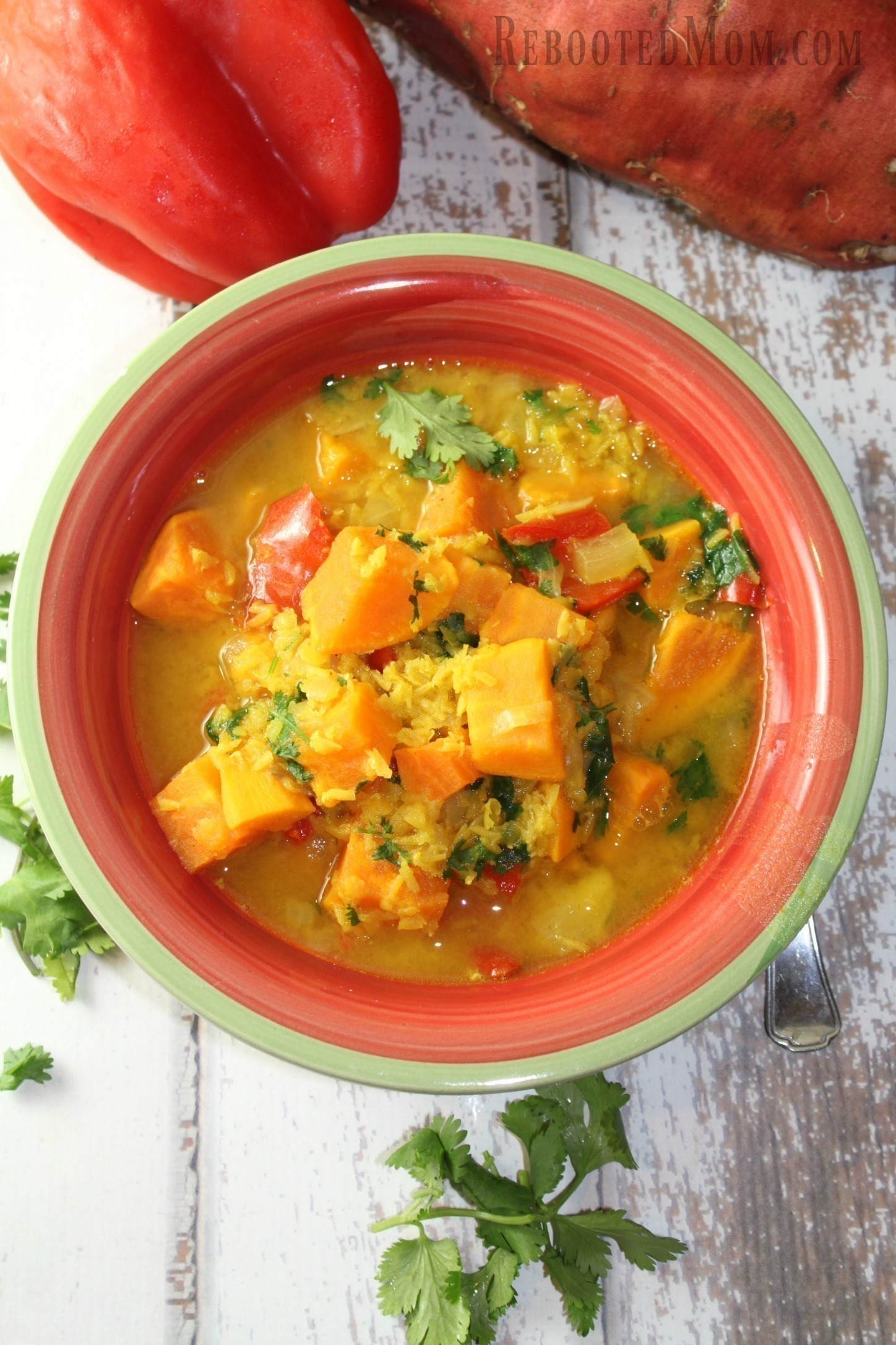 This Red Lentil & Sweet Potato Stew is not only meatless, it is chock full of flavor, protein and fiber.
