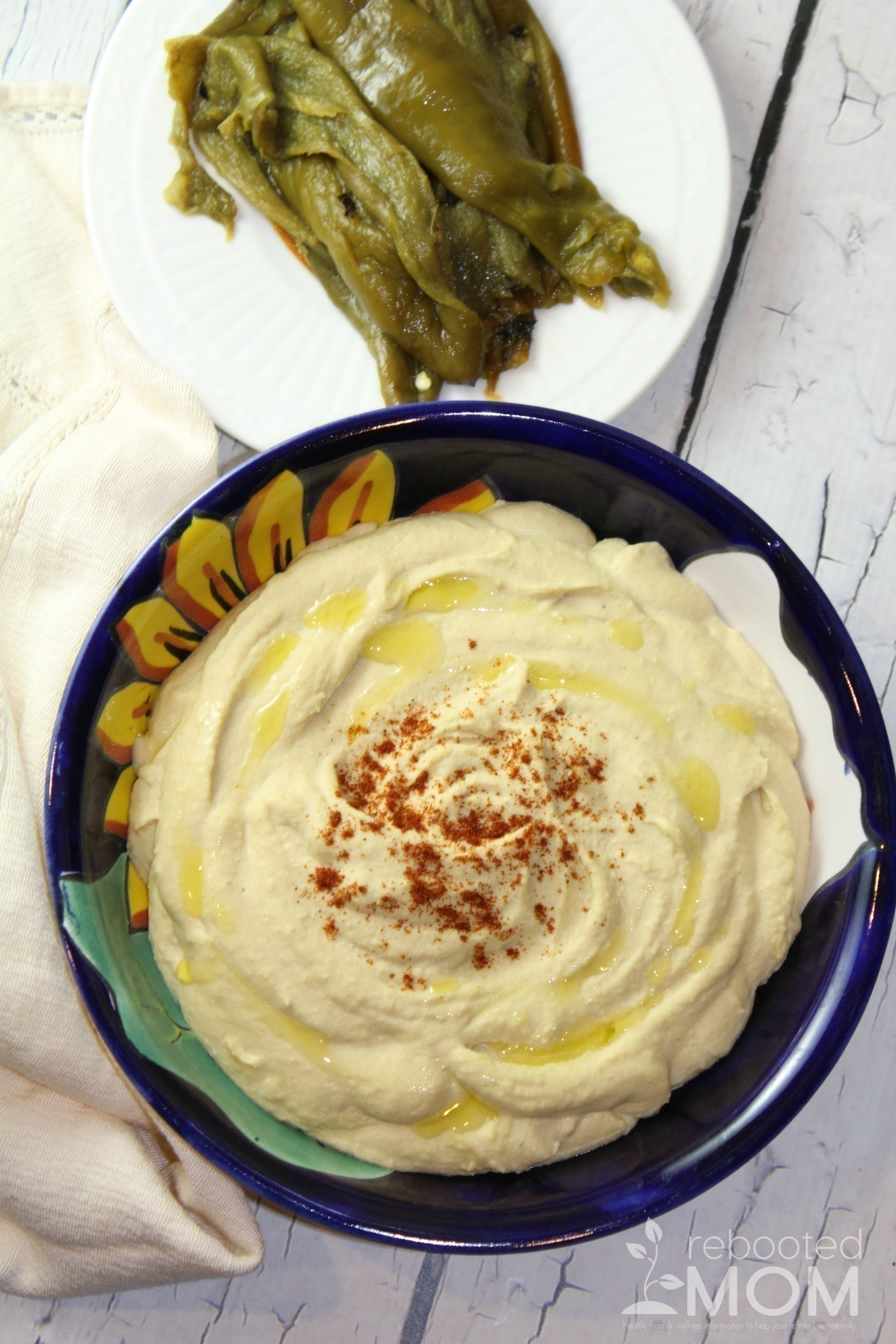 This hatch chile hummus takes traditional hummus up a notch with the flavor of these roasted hatch chiles.