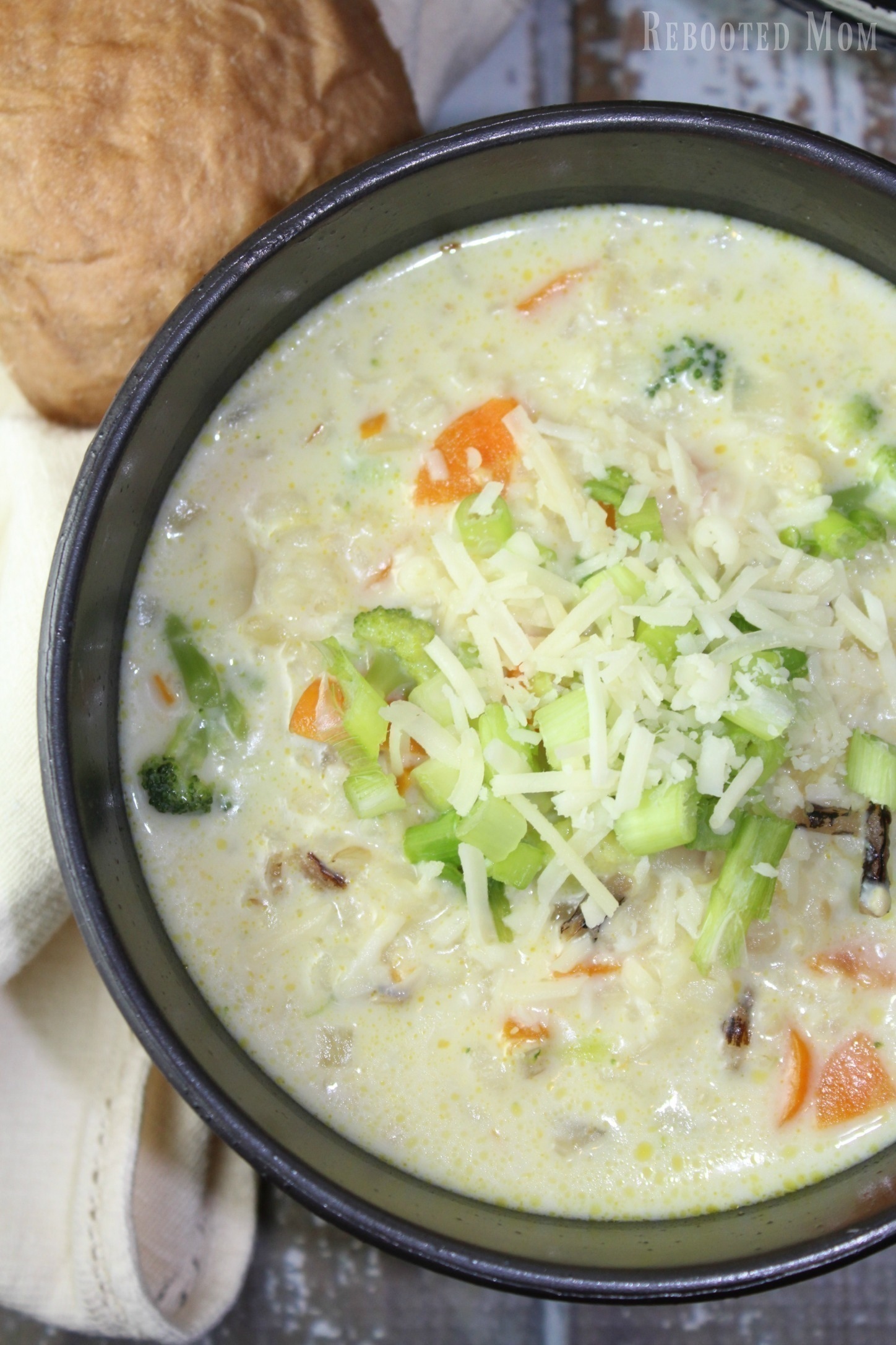 Combine carrots, onions, broccoli, and wild rice in a creamy soup that is effortless to make!