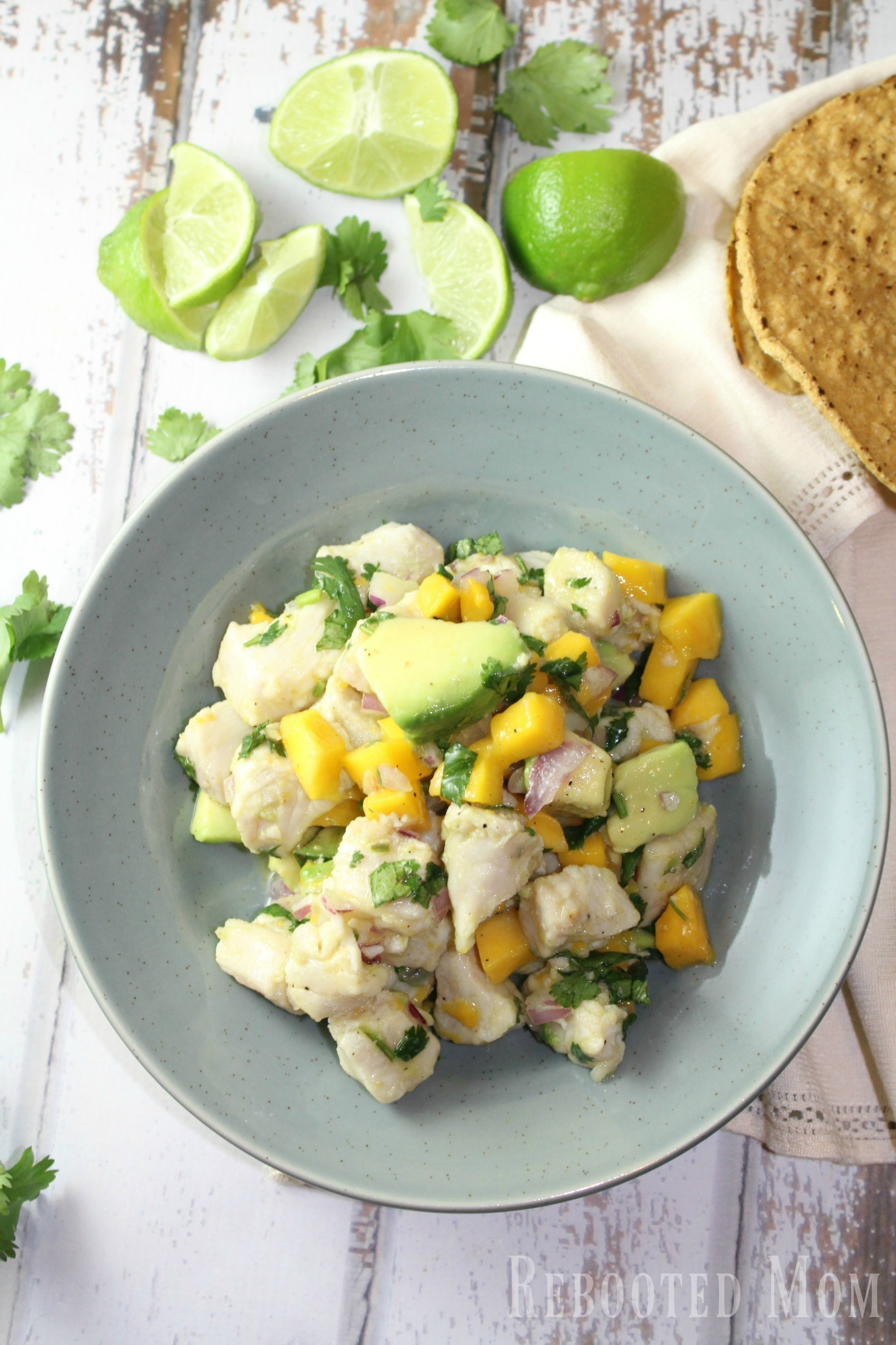 This tropical mango ceviche is a mixture of mango, avocado, onion and mahi mahi bathed in a mixture of orange juice with a punch of pepper. Best eaten with tostadas or tortilla chips.