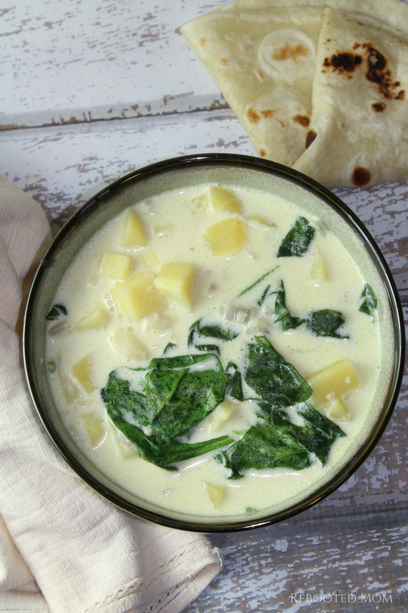 Combine diced potatoes and fresh spinach in a rich, flavorful Potato & Spinach soup that takes just minutes to put together.