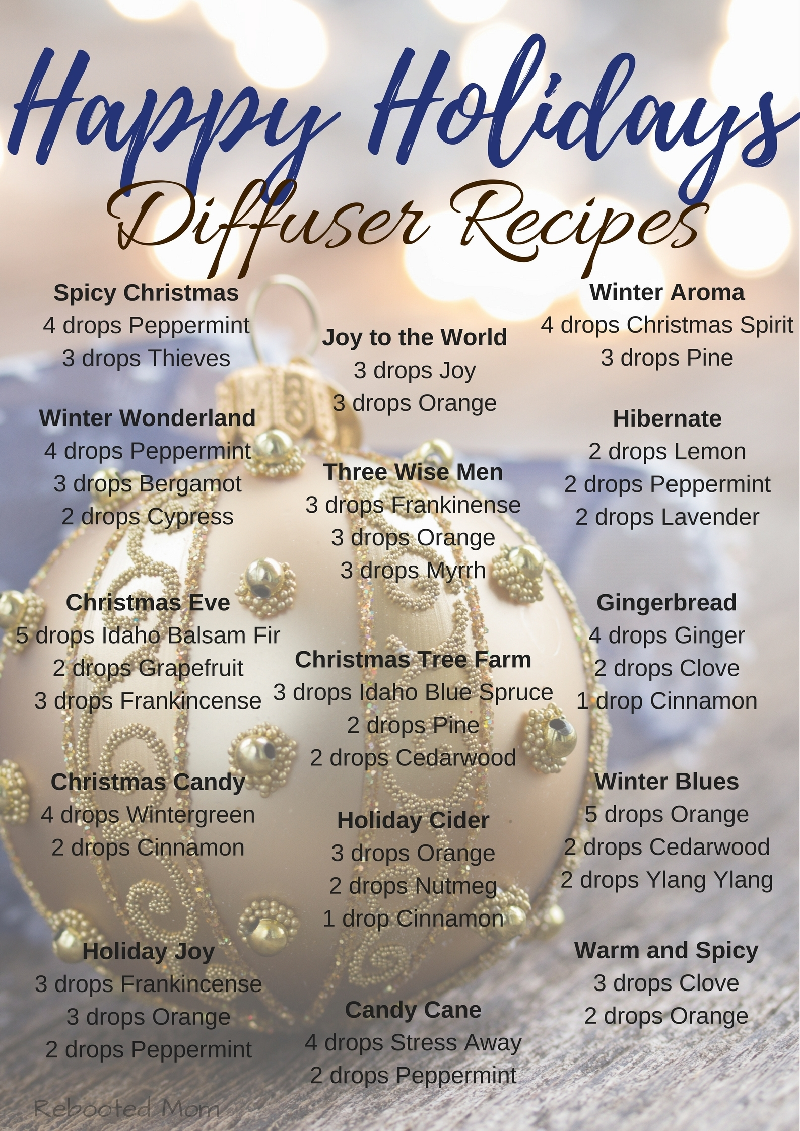 Ditch those candles and pull out that diffuser for some Happy Holidays Diffuser Recipes!