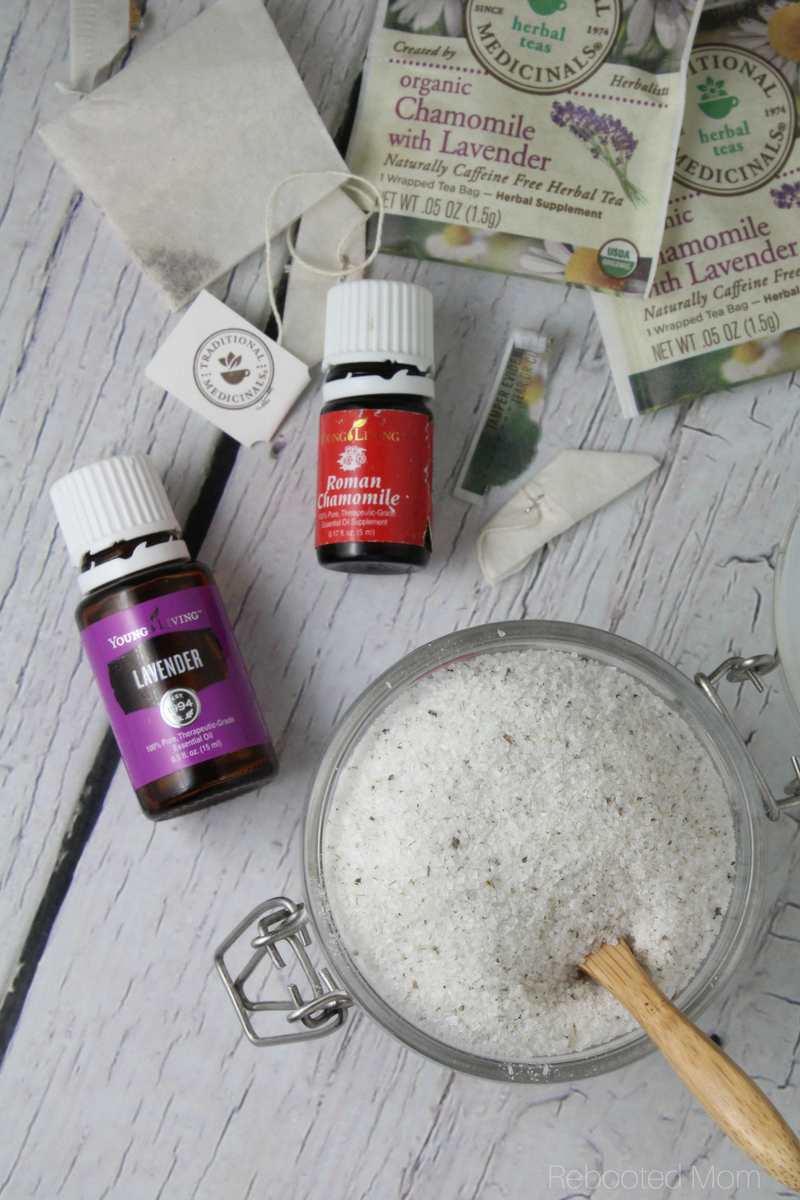 This Relaxing Lavender Chamomile Herbal Bath Soak is incredibly easy to make and great to gift!