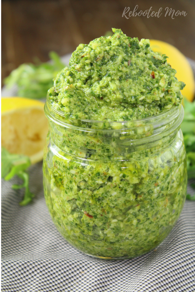 Combine fresh arugula with a few other ingredients who make a wonderful arugula pesto that's great served on seafood, chicken, flatbread or mixed into pasta!
