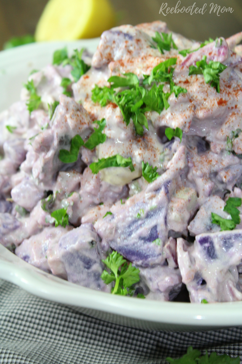 Antioxidant rich purple potatoes join forces with dijon mustard, mayo and seasonings for a beautiful side dish that is full of flavor!