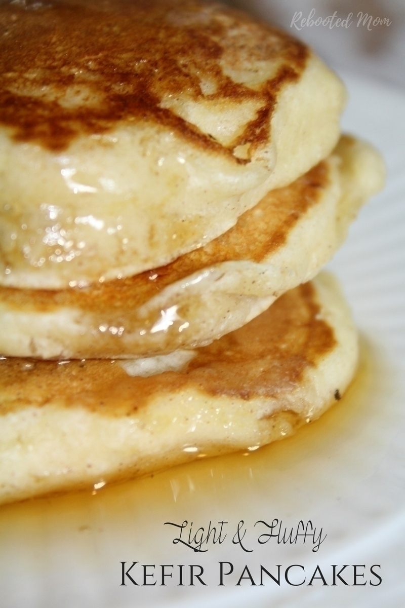 Homemade Kefir Pancakes drizzled with maple syrup