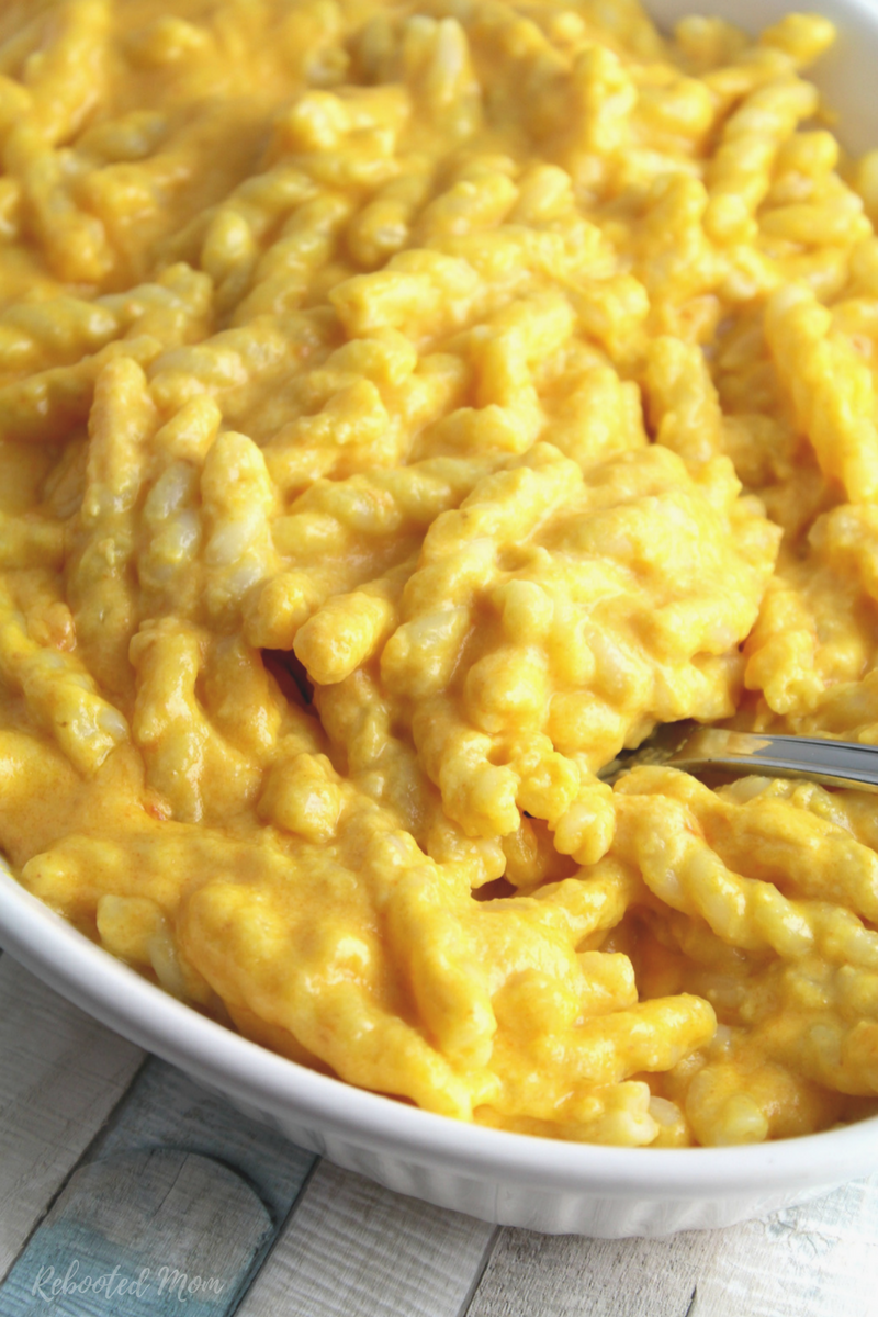 This creamy macaroni and cheese incorporates pureed carrots and very little cheese for bright orange color. Nobody will ever know - it's absolutely delicious!