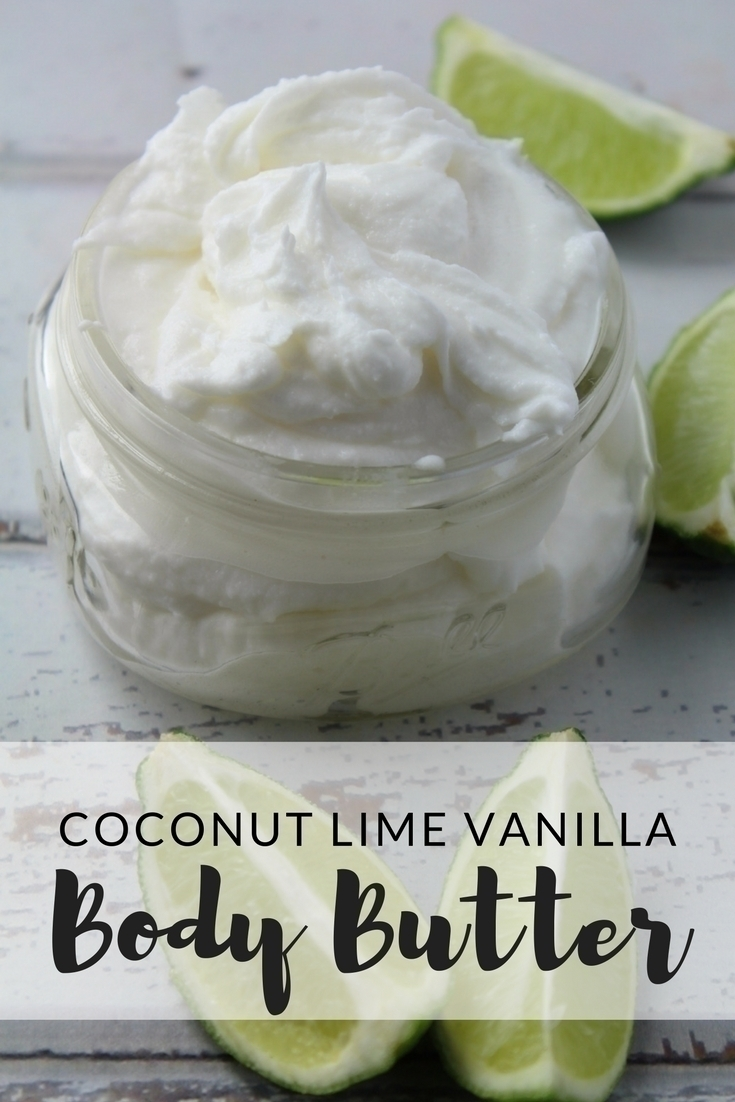 Two ingredients, essential oil, and a hand blender is all it takes to whip together this lush tropical coconut lime vanilla body butter.