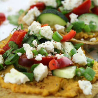 Sweet Potato Hummus and Vegetable Tostadas with Chile Lime Seasoning
