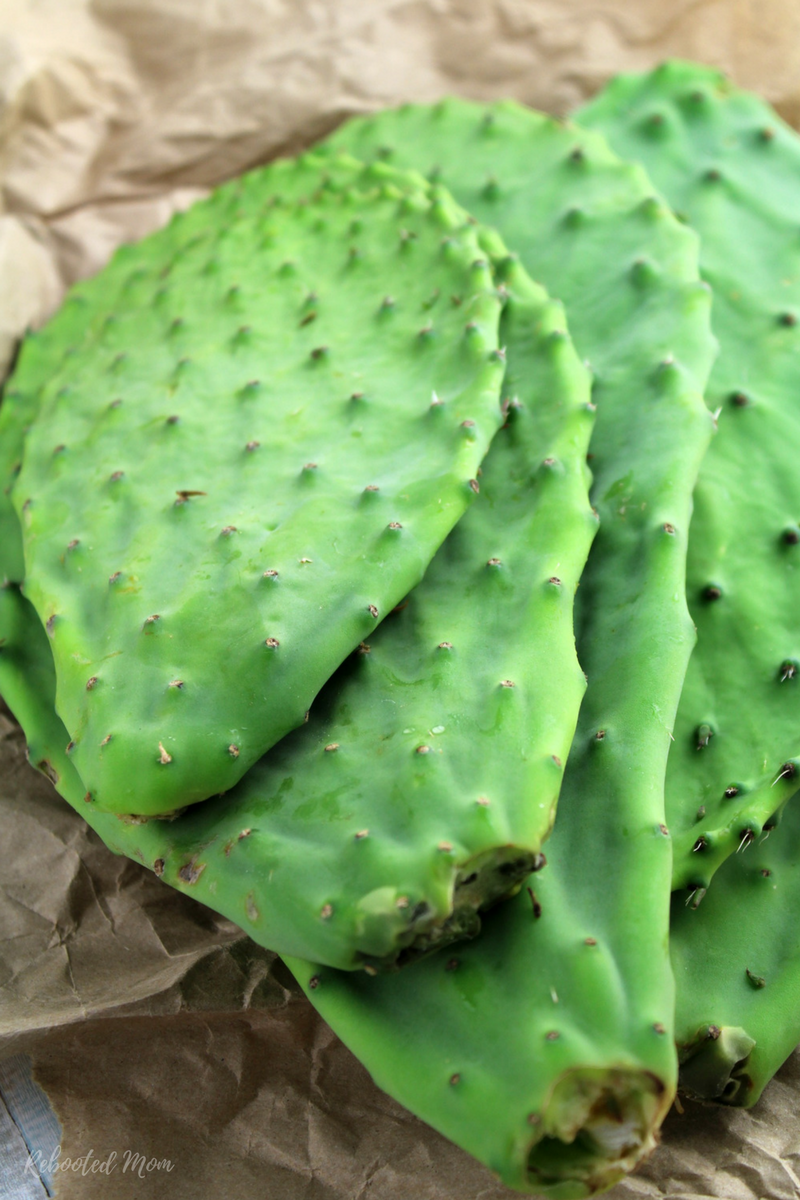 Cactus pads (Nopales) are trimmed, cleaned, and sliced, then pickled in a sweet brine that is full of flavor.