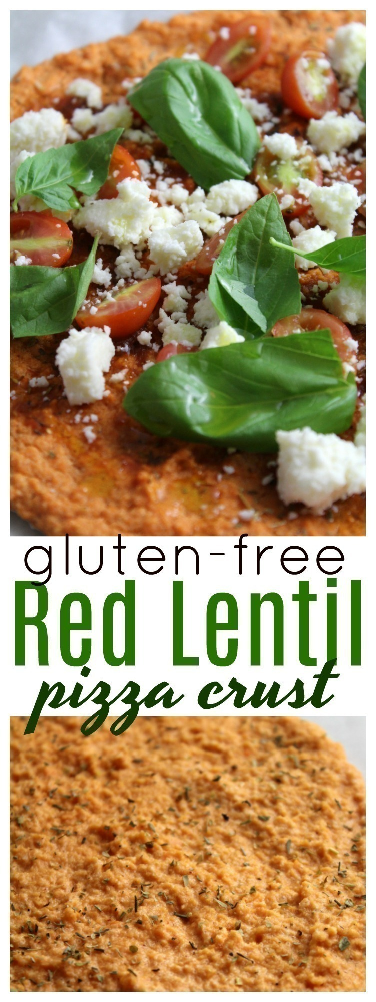 This Red Lentil Pizza Crust is super easy to whip up, gluten-free and great for a meatless meal. It pairs up super with homemade marinara sauce, and fresh cheese. Yum!