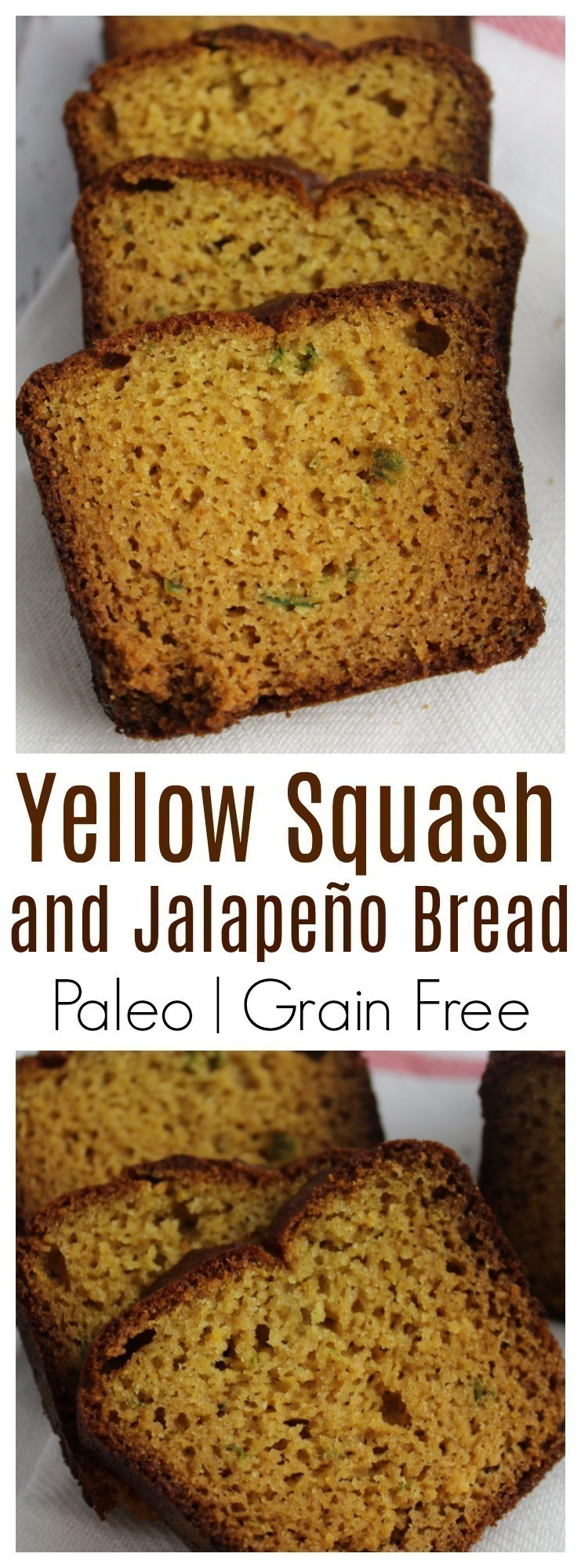Moist and delicious paleo yellow squash and jalapeño bread with simple ingredients and sweetened with maple syrup.