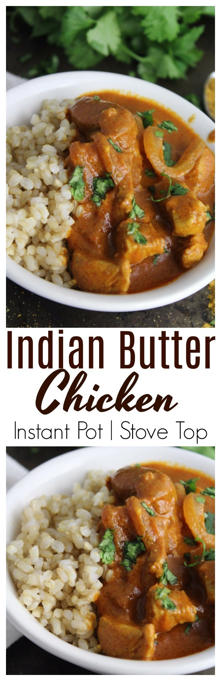 Rich, fragrant spices combined with chicken in a thick, butter sauce that's delicious when served on rice!  Make in the Instant Pot or on stove top. #chicken | #InstantPot | #easy