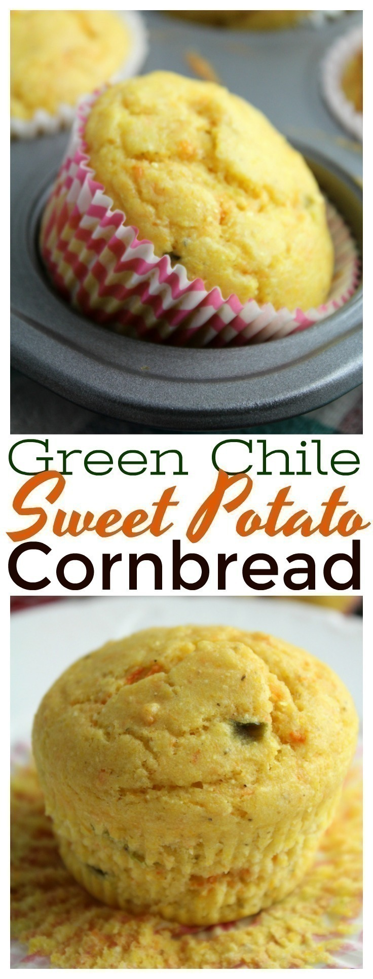 Mashed sweet potato, Hatch green chiles, sour cream, and spices make this incredible kicked up Green Chile Sweet Potato Cornbread that everyone will rave about!  Serve with a pat of butter or honey.