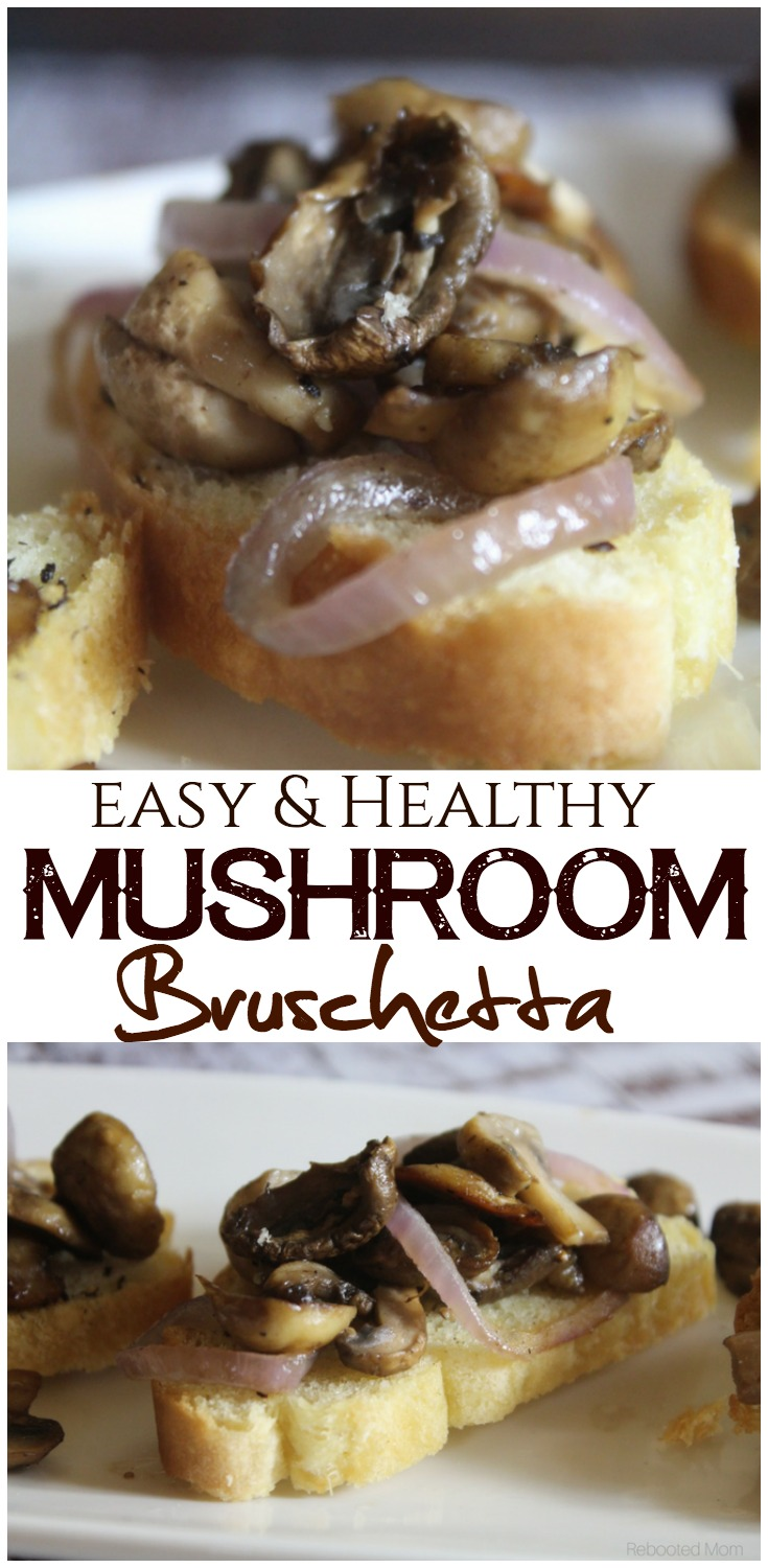 Mushrooms and onions combined with a splash of balsamic vinegar make a delicious combination when they are piled high on toasted baguettes and enjoyed as an easy appetizer. #mushrooms #bruschetta #appetizer