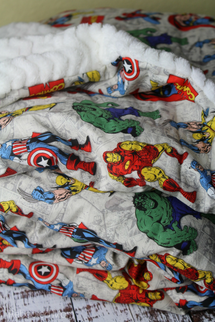A superhero cuddle blanket is the perfect sewing project for a beginner sewer, and makes a great gift for kids of all ages!