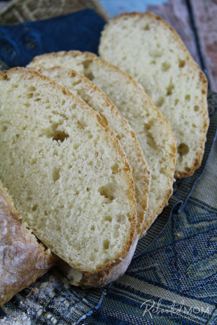 Make a beautiful loaf of ciabatta bread from whey leftover from cheesemaking or, homemade yogurt. #whey #ciabatta #bread #breadmaking