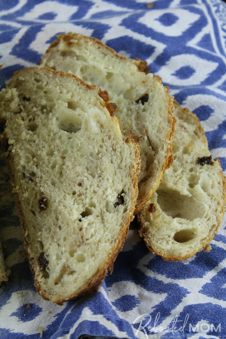 Make a beautiful loaf of cinnamon raisin sourdough bread from whey leftover from cheesemaking or, homemade yogurt.  #whey #sourdough #breadmaking #cinnamon #raisin