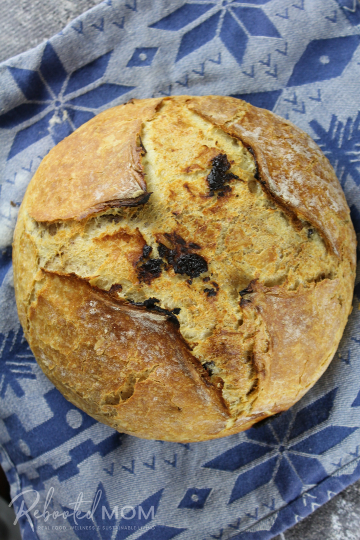 A simple no-knead chocolate chip sourdough that comes together with fresh whey from cheese or yogurt making. #breadmaking #sourdough #noknead #whey #wheysourdough