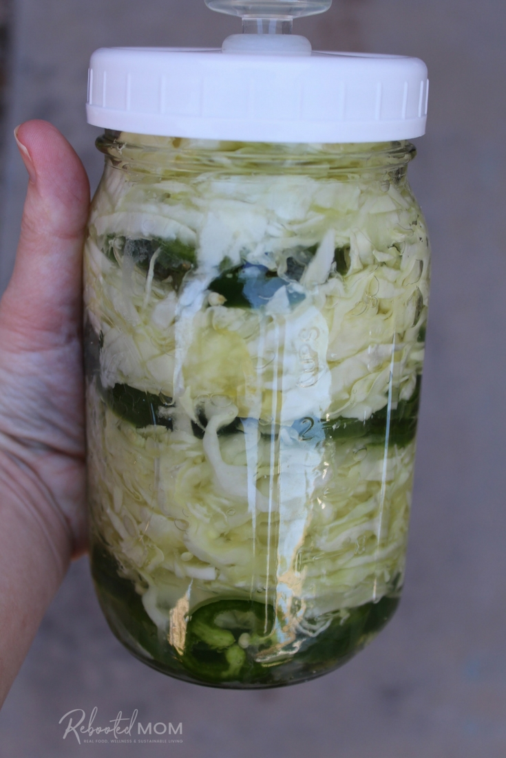 This spicy cabbage and jalapeño slaw is very easy to make with simple ingredients that come together quite nicely. It's wonderful when added on top of a baked potato, served on a hamburger, or added to the top of a salad. #fermented #slaw #cabbage #spicy #sauerkraut #guthealth