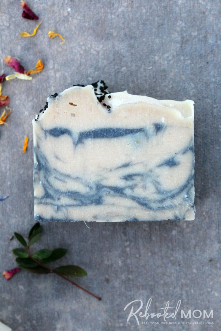 Combine the moisturizing properties of milk with activated charcoal to create this elegant swirled milk and charcoal cold processed soap.  #soapmaking #coldprocesssoap #milksoap #activatedcharcoal #soap