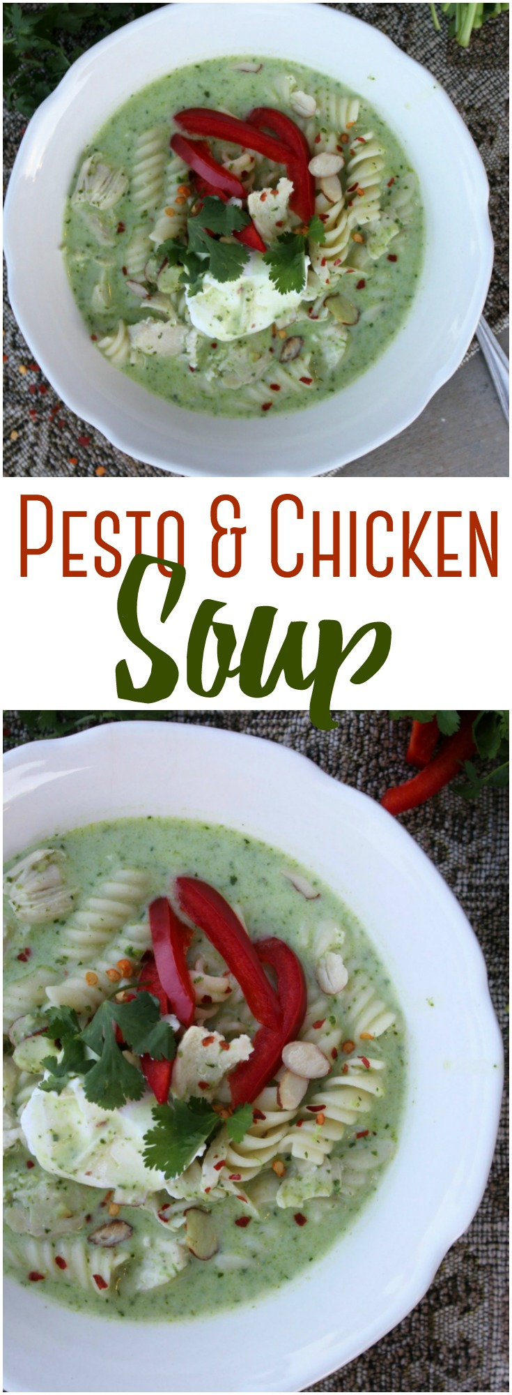 Combine garden fresh pesto with chicken to make this deliciously simple yet flavorful soup in the Instant Pot or on the stove top! #Pesto #Soup #InstantPot #Chicken #healthy