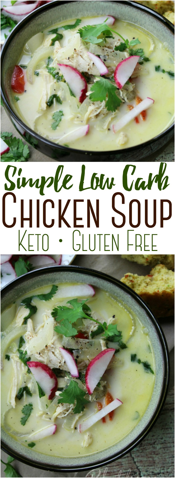 A hearty and flavorful, yet low carb chicken soup with simple ingredients and a rich broth made easily in the Instant Pot! #InstantPot #StoveTop #PressureCooker #Keto #LowCarb #Chicken #Soup #Healthy