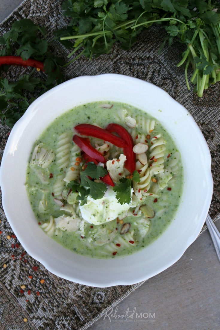 Combine garden fresh pesto with chicken to make this deliciously simple yet flavorful Pesto and Chicken Soup in the Instant Pot or on the stove top!