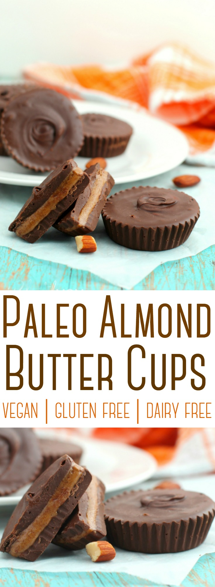 A 5-ingredient recipe for rich, decadent chocolate cups stuffed with almond butter. Paleo, Vegan, Gluten-free, Dairy-free.