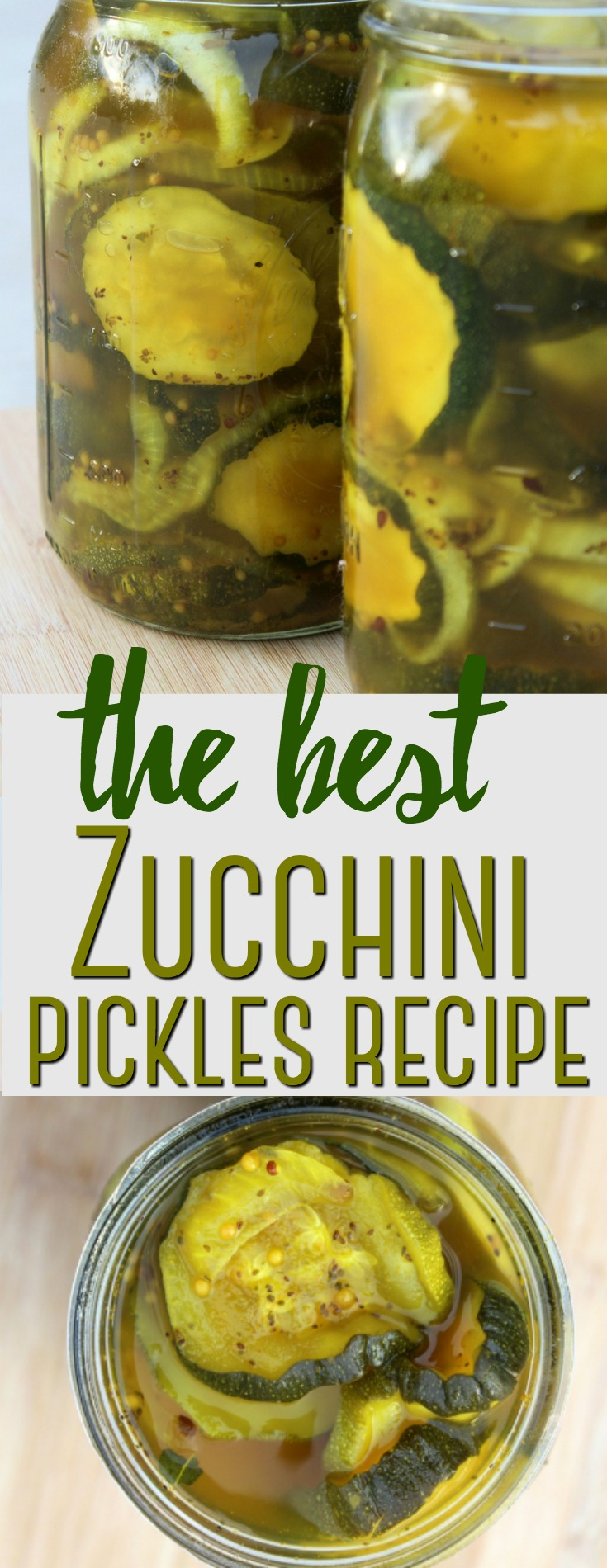 These zucchini pickles are a fun and unique way to use up a bumper crop of zucchini in a delicious recipe that features turmeric in a simple brine.