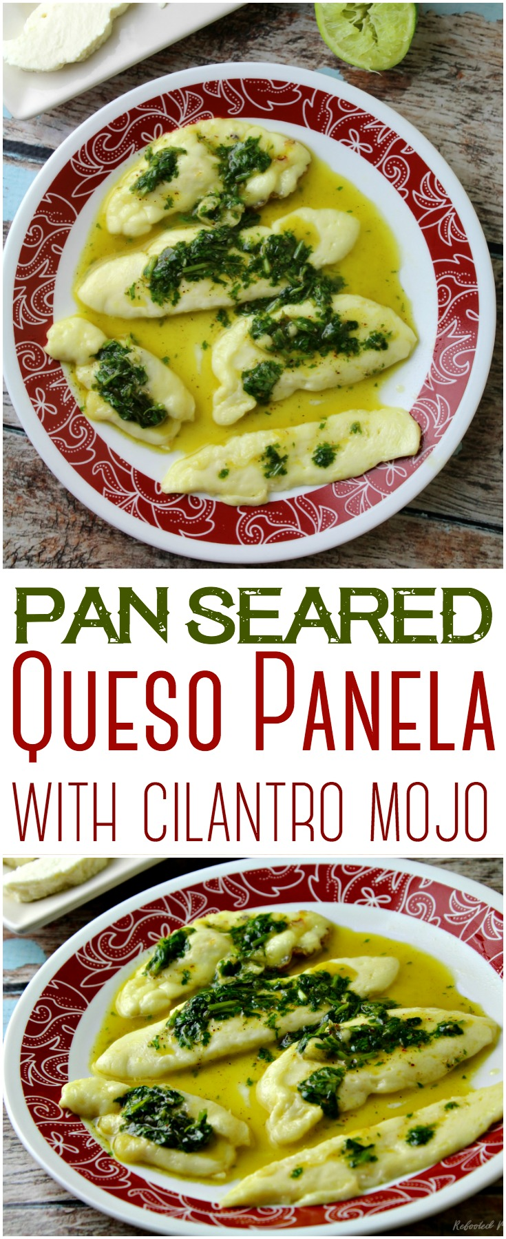 Pan Seared Queso Panela drizzled with a deliciously fragrant and rich cilantro mojo sauce that combines simple ingredients to make an easy appetizer!