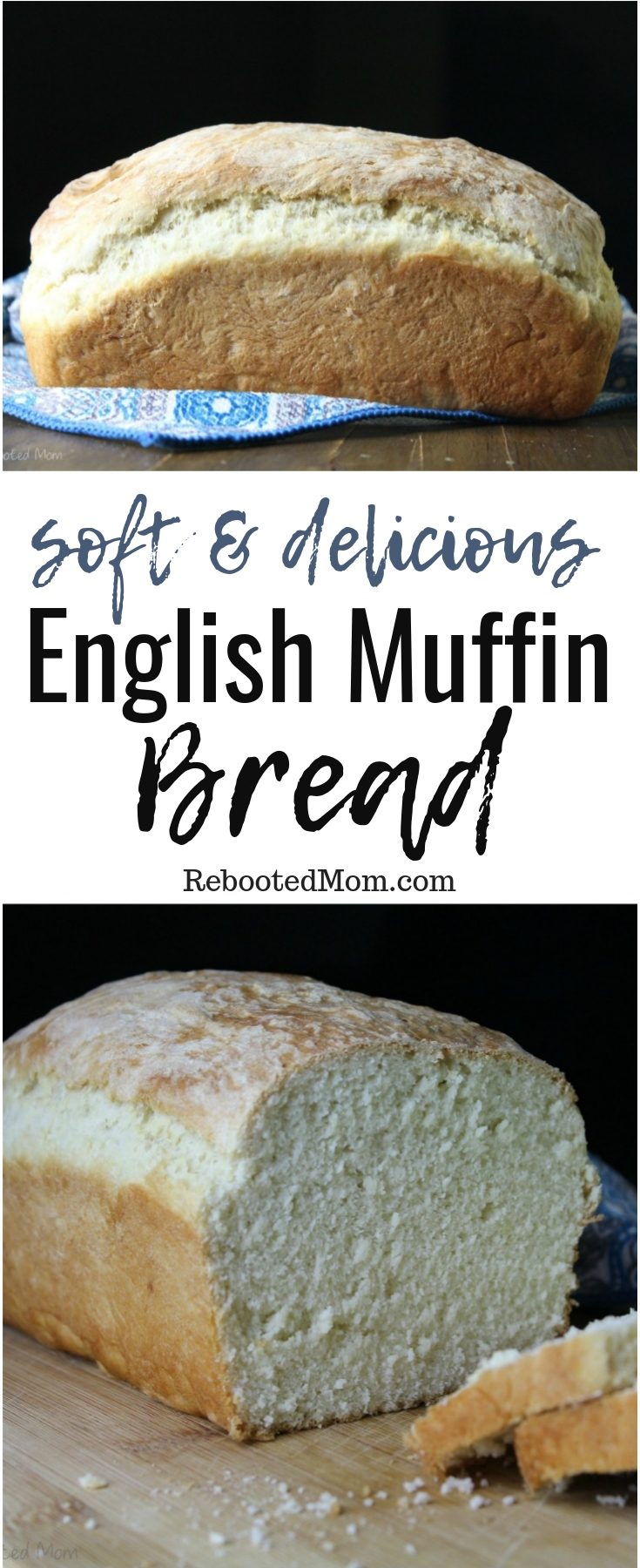 Freshly baked loaf of English Muffin Bread.