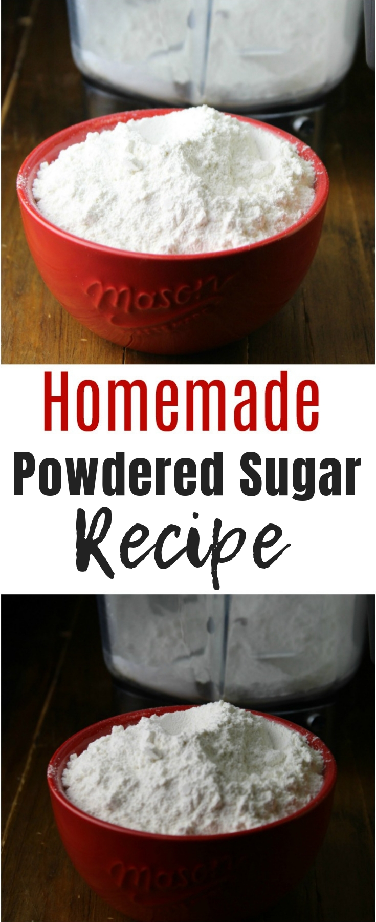 Learn how to make homemade powdered sugar at home with two simple ingredients right from your pantry! It's so easy you'll never run out again!