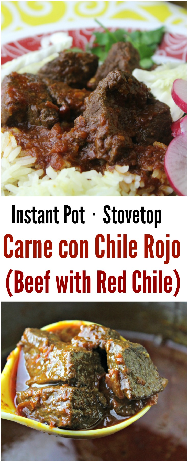 Juicy and soft Carne con Chile Rojo (Beef and Red Chile) cooked up into a deliciously rich, spicy dish suitable for the Instant Pot or stovetop.
