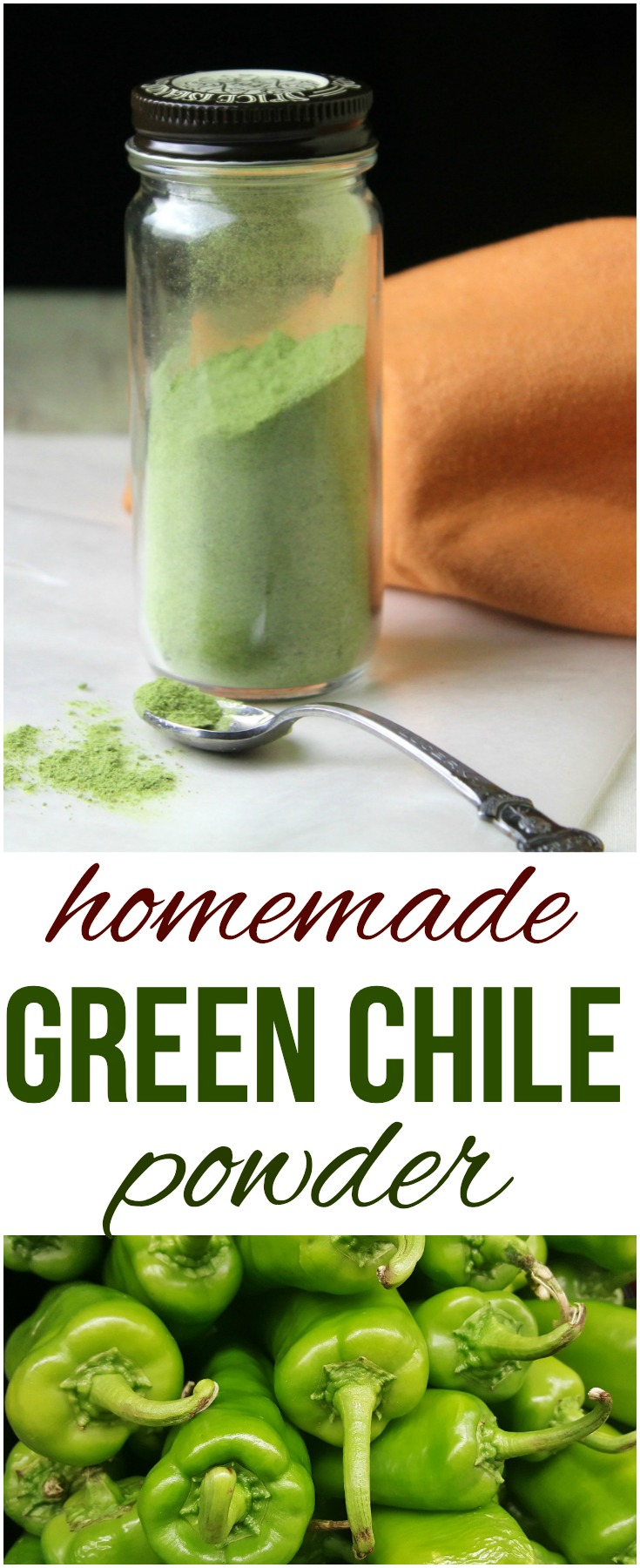 Add a flavorful kick to any dish with this spicy green chile powder that you can make easily at home with your garden bounty  of fresh green chiles.