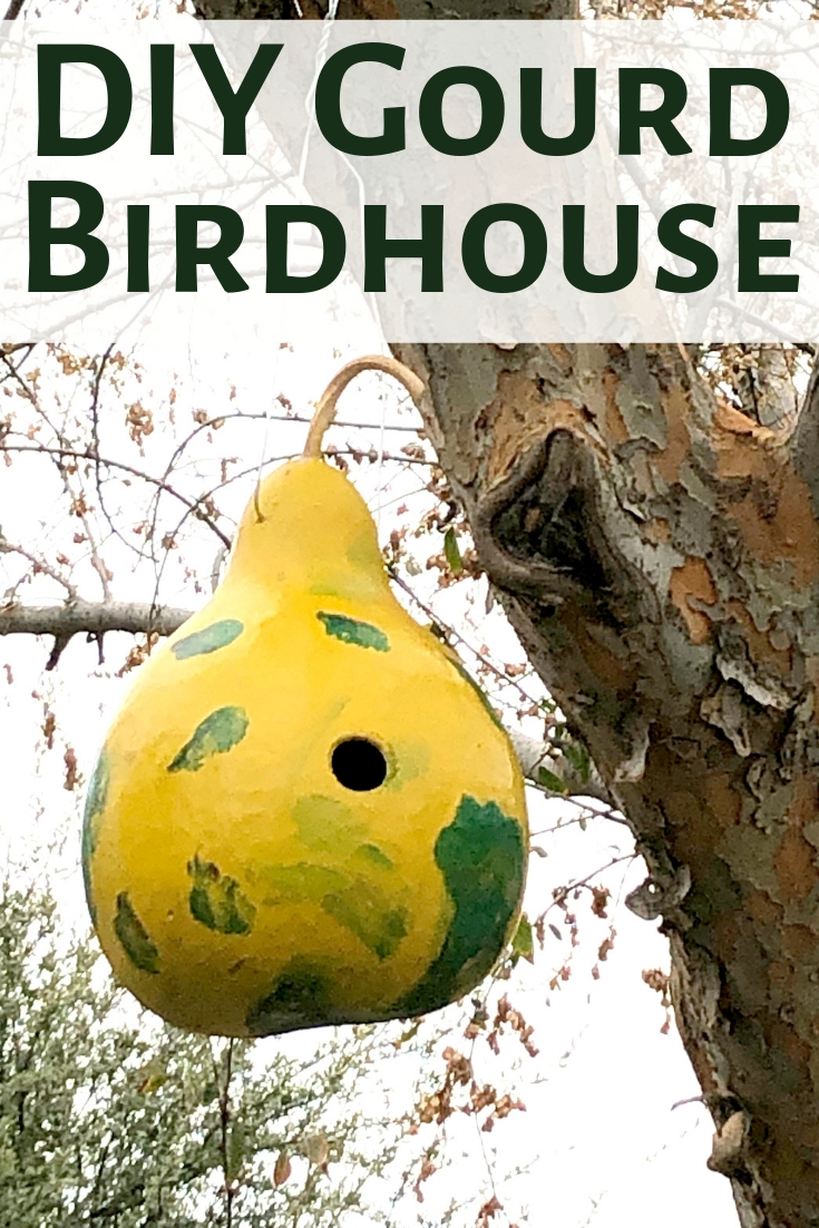 DIY gourd birdhouses are a neat craft for the entire family! You can design and paint them an array of colors to fit your garden decor!  #gourd #birdhouse #kids #family #craft #DIY #gourdbirdhouse
