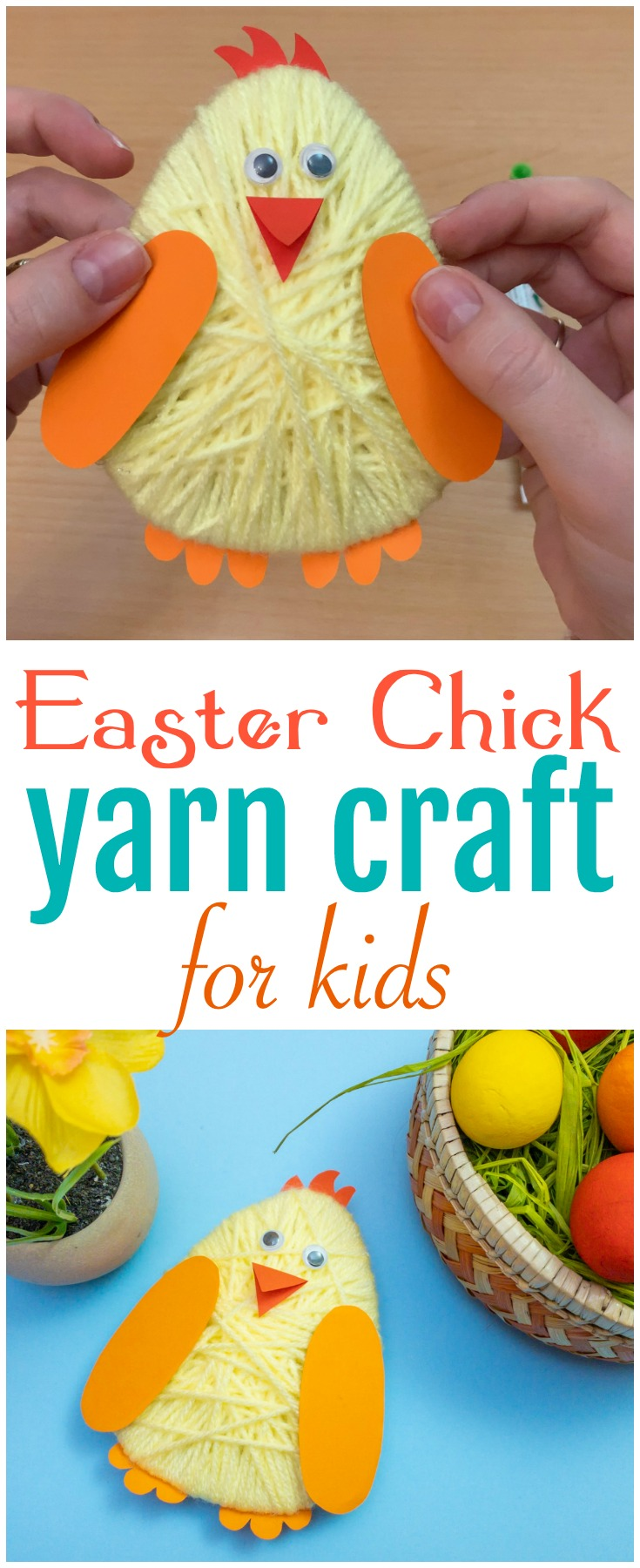 This adorable Easter ChickYarn Craft is simple for kids to make and the perfect way to welcome spring and the Easter holiday! #Easter #Yarn #YarnCraft #Kids #Spring #KidsCraft #Spring