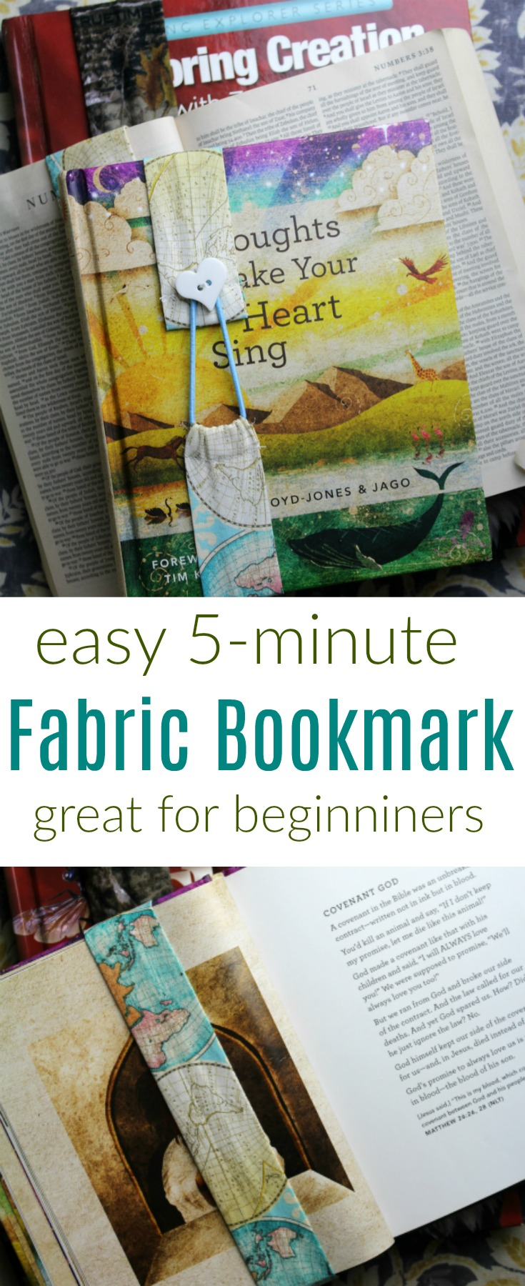 Learn how to sew a fabric bookmark - a super easy project for beginners that takes just five minutes!  It's a great way to use up fabric scraps!  #fabric #sewing #scraps #DIY #kids #sew #bookmark