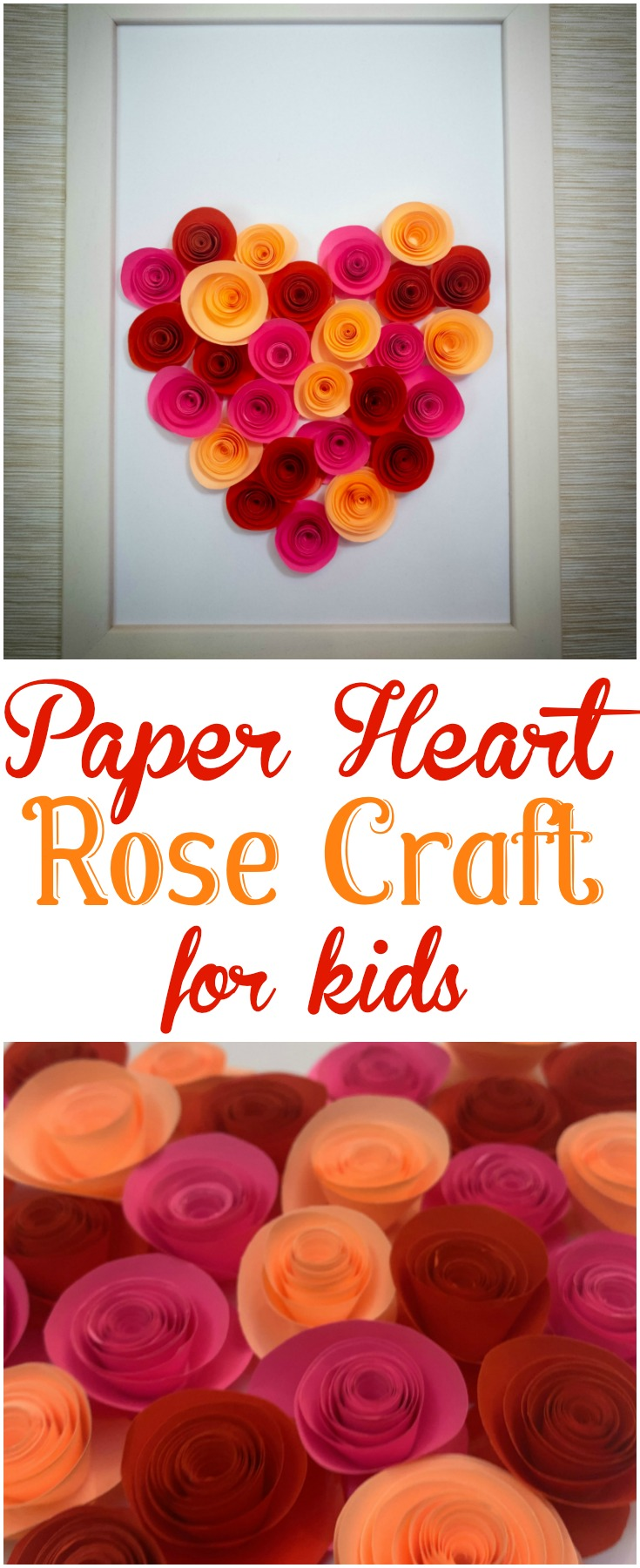 It's all about hearts and roses with this easy Paper Heart Rose Craft, which is a wonderful way to help kids develop patience and fine motor skills. #ValentinesDay #MothersDay #Rose #Heart #Mom #Grandma #Kids #Craft