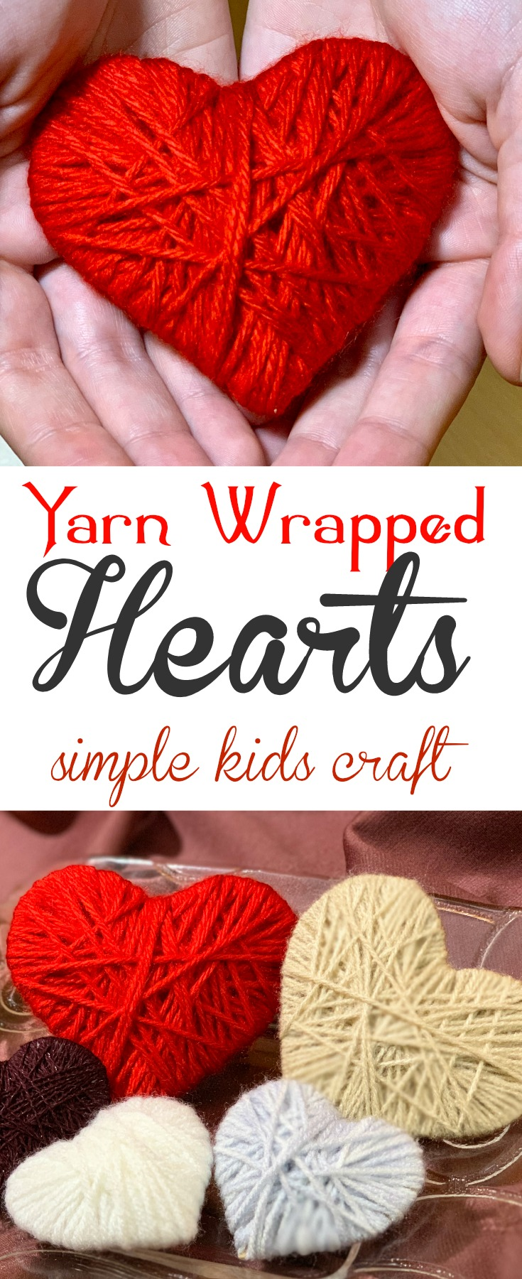 Easy yarn wrapped hearts are the perfect craft decoration made with yarn - such a sweet gift for Valentine's Day, Mother's Day and even Christmas!  #yarn  #yarncraft #Kids #KidsCraft #ValentinesDay #MothersDay #