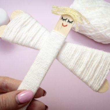 Yarn Angel Popsicle Stick Craft