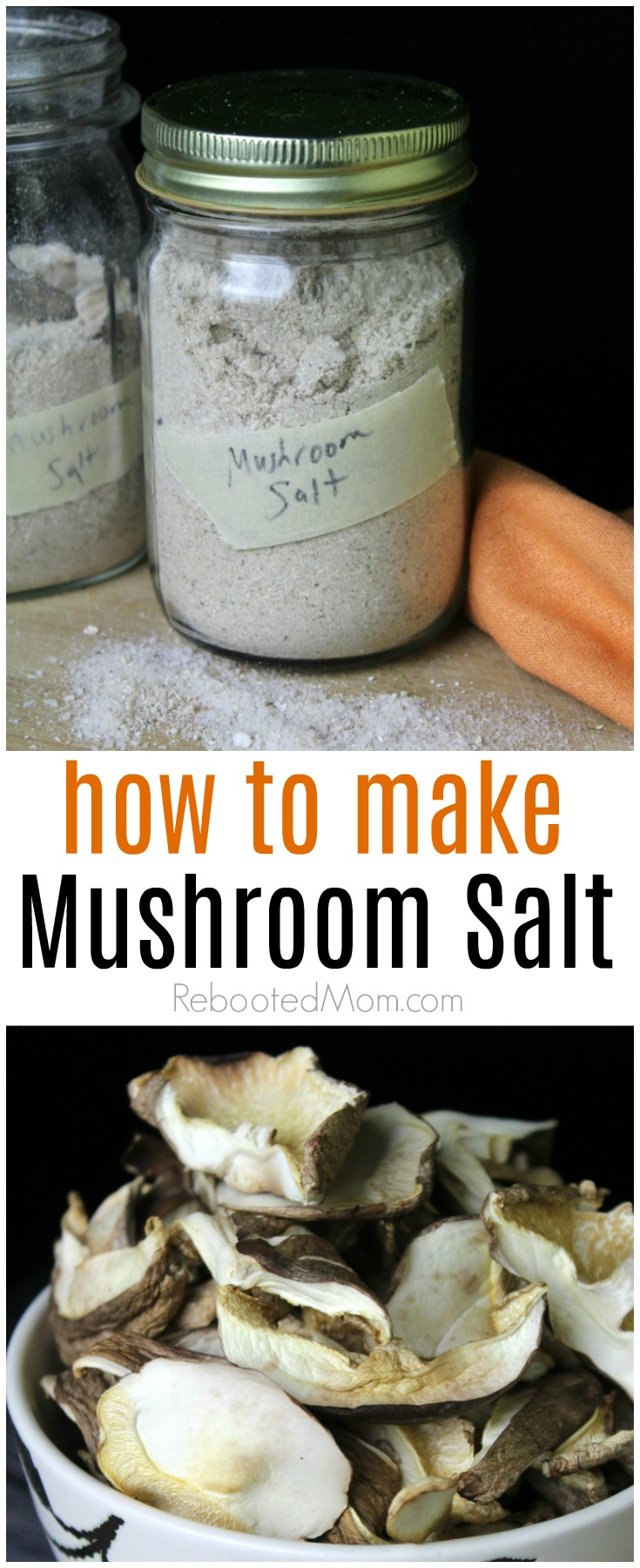 This mushroom salt is simple to make and delicious on everything from roasted veggies to steak, chicken and so much more!  #veggiesalt #mushroom #salt #spices #seasoning