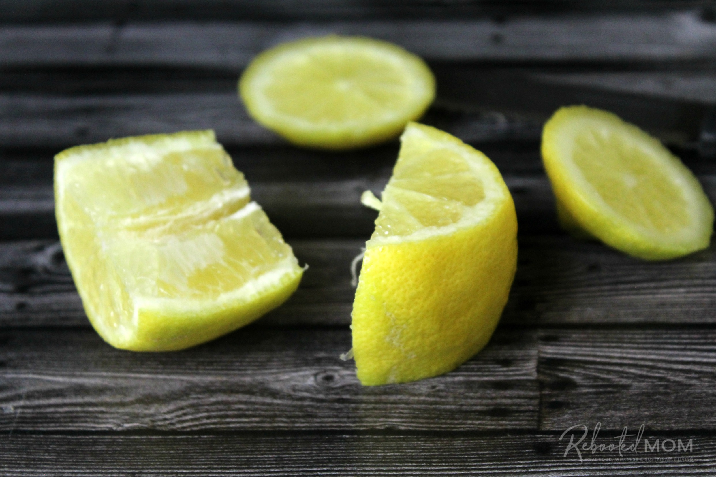Cut lemons  \\ An amazing condiment, preserved lemons (fermented lemons) have added probiotics and are a wonderful addition to vegetable, pasta, meat and salad dishes.