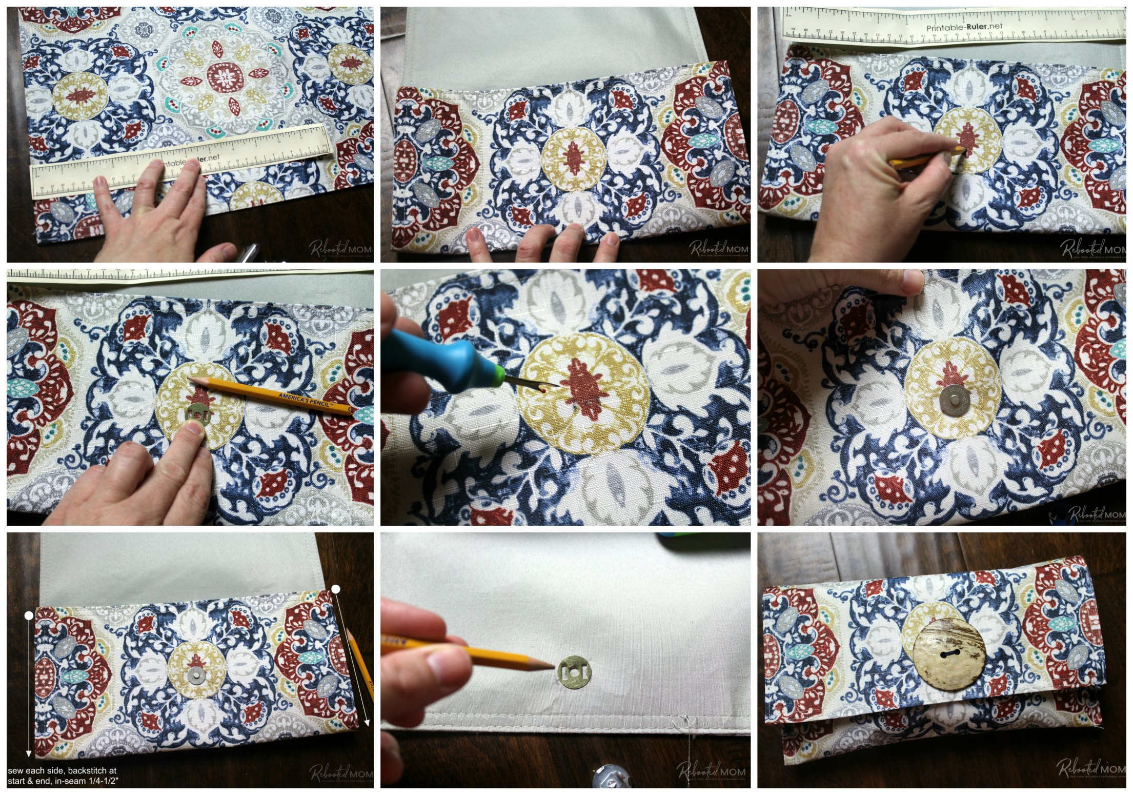 Step by Step -  placemat clutch purse \\ This placemat clutch purse comes together in under ten minutes for just a few dollars. It makes a stylish purse or case for baby wipes and a few diapers!