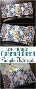A clutch purse made from a simple placemat