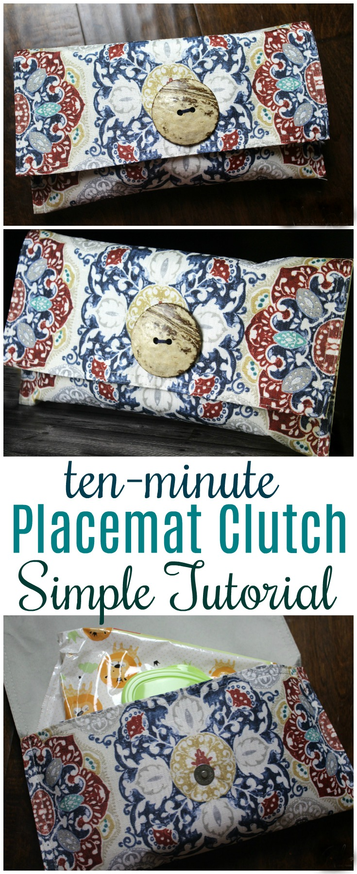 This placemat clutch purse comes together in under ten minutes for just a few dollars. It makes a stylish purse or case for baby wipes and a few diapers!