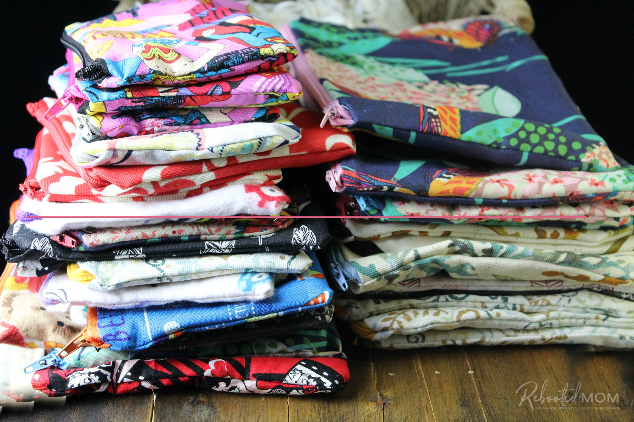 Pile of various zipper pouches, size small to large