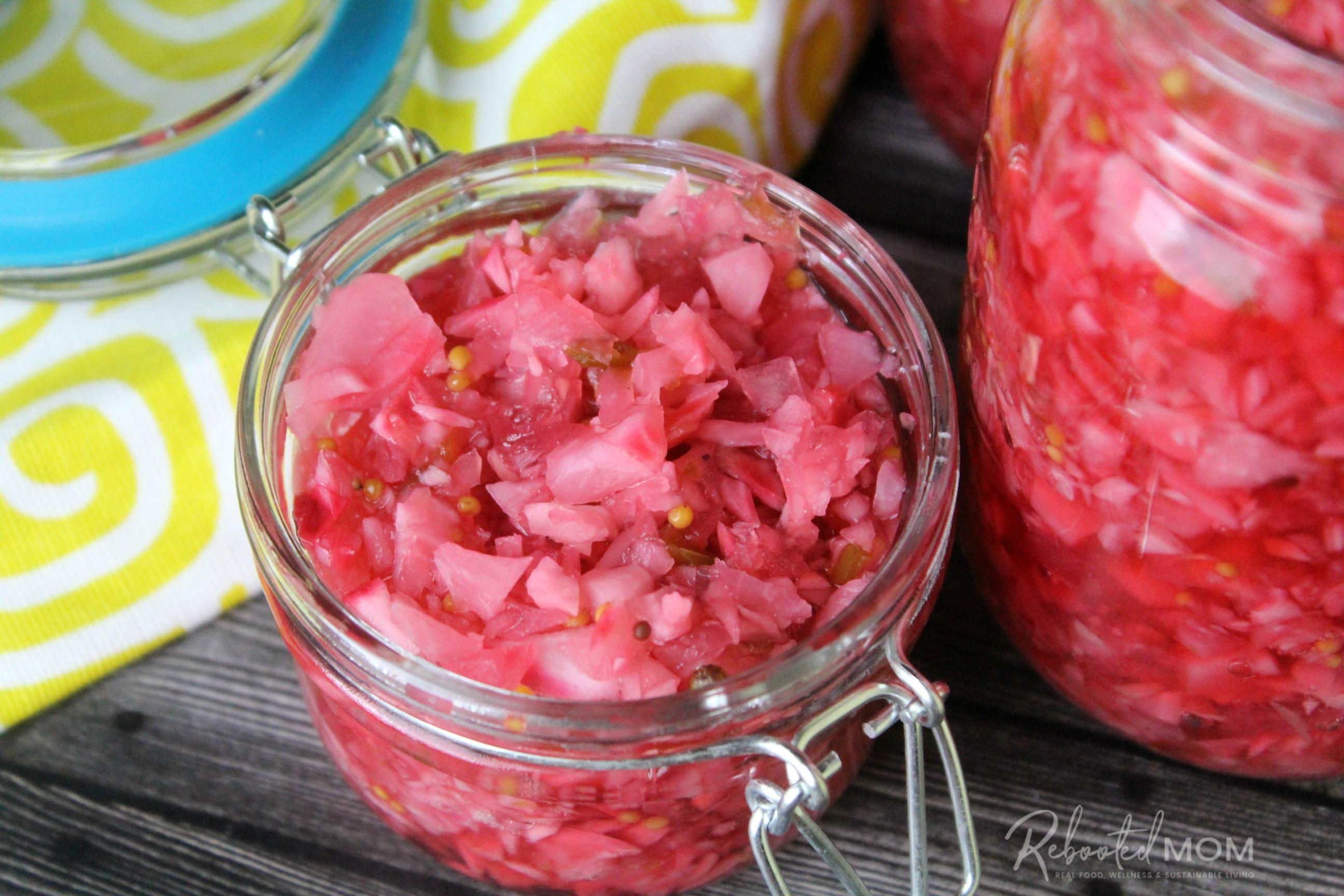 Rosy Radish Relish in Jars